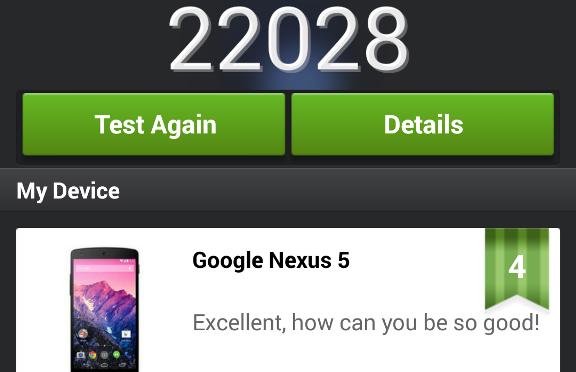 NEXUS5 ベンチマークを見てみました