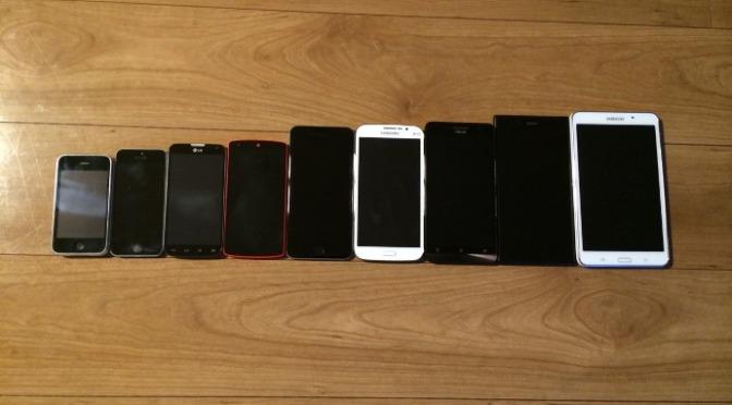 Iphone6 Plusと色んなスマホ/タブレットサイズ比較!